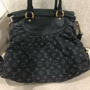 Louis Vuitton Neo Cabby black monogram denim hobo
